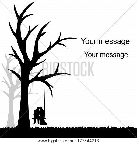 Card with a couple on a white background with a tree and swing. Bride and groom. Also suitable for invitation card. Vector illustration.