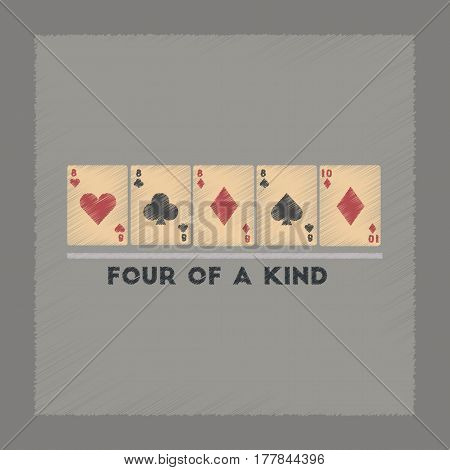 flat shading style icon poker four of a kind
