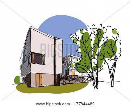 Colored architectural sketch vector. The building in Finland. Modern finnish architecture. Can apply in tourist sphere, for the site of tourism, in flyer design, banner.