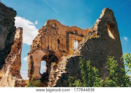 Ruined walls Lietava Castle in Slovakia .