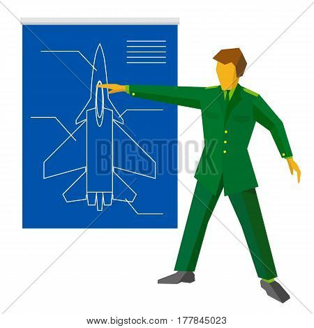 A man in green military uniform show blueprint with aircraft fighter. Army man on press conference or presentation of new weapon. Flat vector clip art on white background.