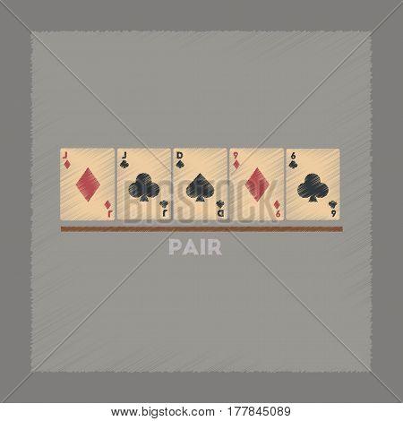 flat shading style icon poker pair cards