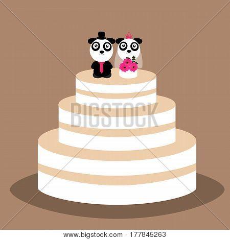 Wedding cake with funny pandas. Wedding cake with bride and groom figurine. Vector illustration.