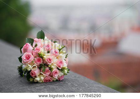 Colorful bridal bouquet. wedding day bride accessories.