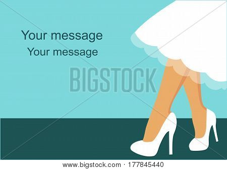 Card with bride on a blue background with space for text. Feet girl. Also suitable for invitation card. Vector illustration.