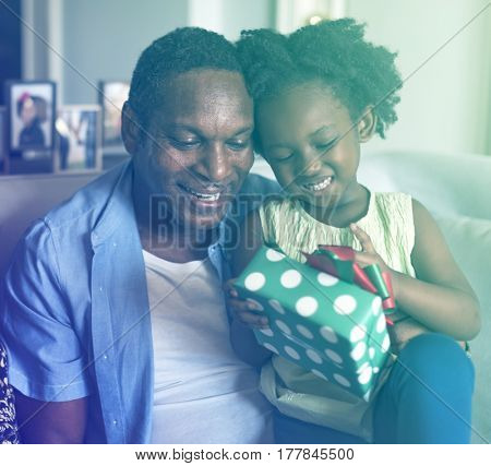 Father Daughter Open Gift Box Surprise