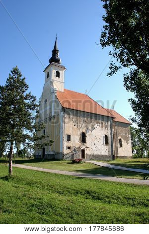 SCITARJEVO, CROATIA - AUGUST 23: Parish Church of Saint Martha in Sisinec, Croatia on August 23, 2011.