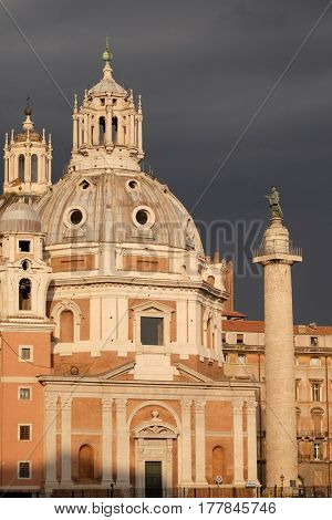 ROME, ITALY - SEPTEMBER 01: Church of the Most Holy Name of Mary (Chiesa del Santissimo Nome di Maria al Foro Traiano) at the Trajan Forum - Roman Catholic church in Rome, Italy on September 01, 2016.
