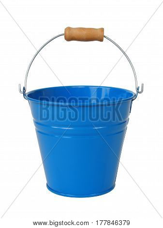 Blue metal bucket isolated on white background