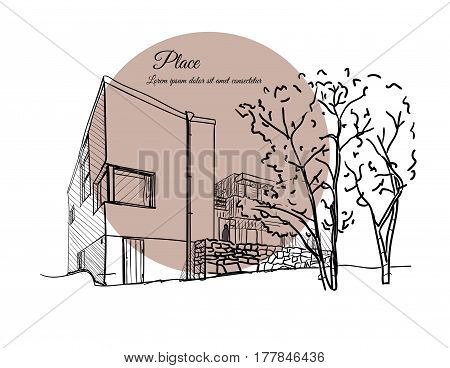 Architectural sketch. Sketch of a building with a beige circle on the background with text.