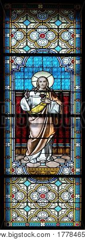 KRAPINA, CROATIA - APRIL 21: Sacred Heart of Jesus stained glass window in the church of Saint Catherine of Alexandria in Krapina, Croatia on April 21, 2016.