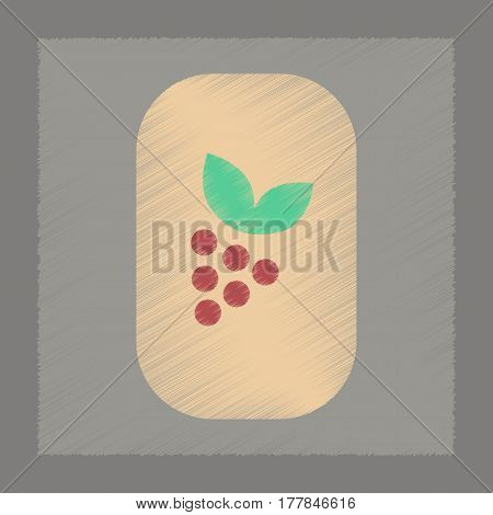 flat shading style icon poker grapes with leaf