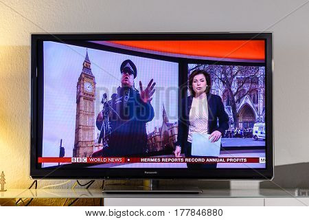 PARIS FRANCE - MARCH 22: BBC News channel reporting live scenes from Westminster Bridge after armed attack on March 22 in London. A police officer has been stabbed near to the British Parliament