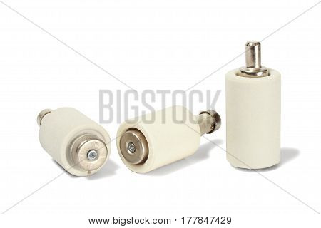 Three electrical fuses isolated on white background