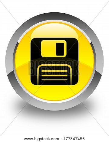 Floppy Disk Icon Glossy Yellow Round Button