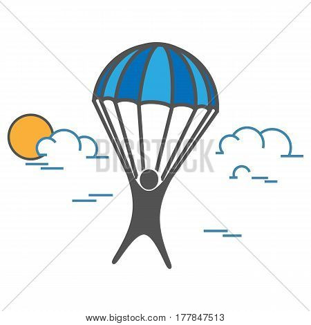 Man on Parachute sports on a white background