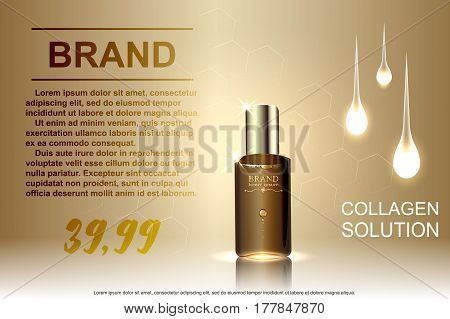 Template ads cosmetic, glass bottle drops of essence oil isolated on brown background. Vector illustration.