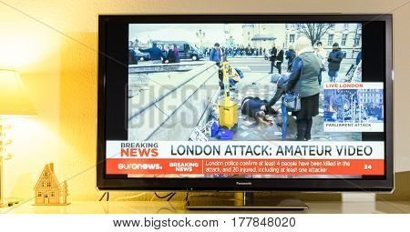 PARIS FRANCE - MARCH 22: Euronews News channel reporting live scenes from Westminster Bridge after armed attack on March 22 in London. A police officer has been stabbed near to the British Parliament