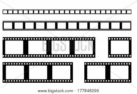film strip vector . Realistic filmstrip  retro set