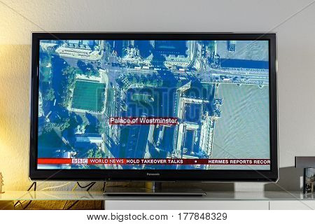 PARIS FRANCE - MARCH 22: BBC News channel reporting live from helicopter above the Palace of Westminster near Westminster Bridge after armed attack on March 22 in London. A police officer has been stabbed near to the British Parliament