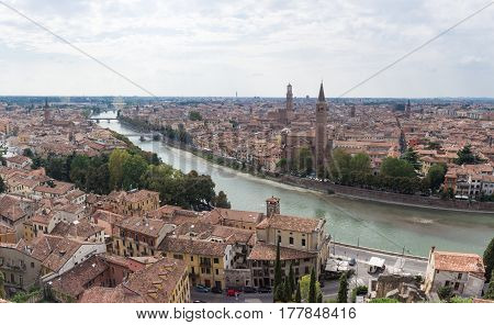 Adige River And The Old Town Of Verona