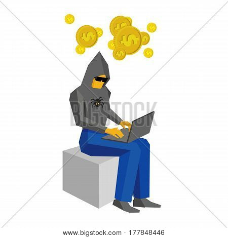 Computer Hacker Sitting With Laptop And Thinking About Money