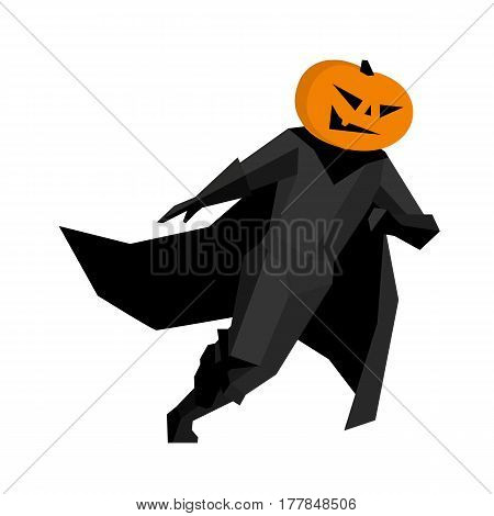 Running pumpkin man isolated on white background. Halloween character In black suite and cloak. Simple geometric shapes flat stile vector clip art.