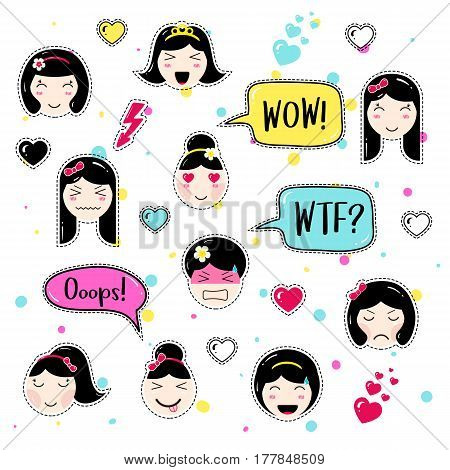 Set of cute patch badges. Girl emoji with different emotions and hairstyles. Kawaii emoticons, speech bubbles wow, wtf, ooops. Set of stickers, pins in anime style. Isolated vector illustration.