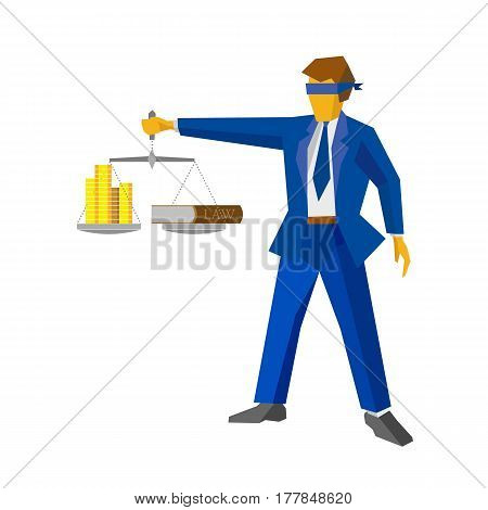 Man with balance in hand looks like a god of justice Themis (Femida). Money and lawbook on the scales. Law and legal concept. Flat style vector clip art. Lawyer isolated on white background.
