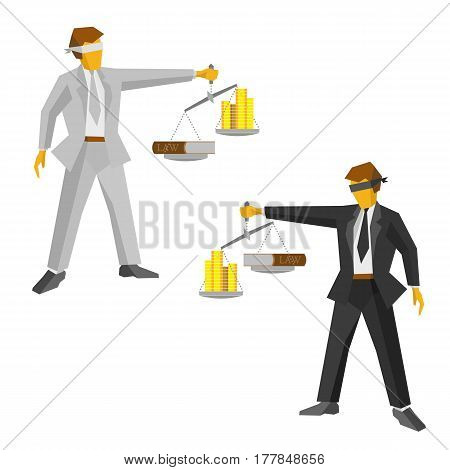 Two man in black and white suits with balance in hand looks like a god of justice Themis (Femida). Money and lawbook on the scales. Law and legal concept. Lawyer isolated on white background.