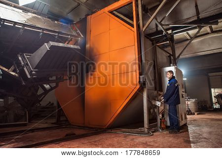 Molding Plastics In The Huge Factory Oven. Hi-tech. Reliable Equipment European Manufacturer.
