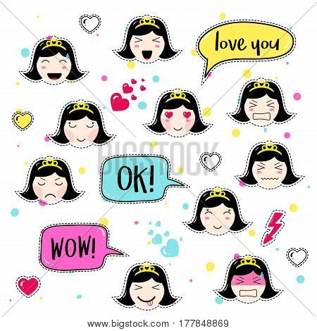 Set of cute patch badges. Girl emoji with different emotions and hairstyles. Kawaii emoticons, speech bubbles love you, ok, wow. Set of stickers, pins in anime style. Isolated vector illustration.