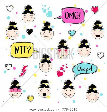 Set of cute patch badges. Girl emoji with different emotions and hairstyles. Kawaii emoticons, speech bubbles omg, wtf, ooops. Set of stickers, pins in anime style. Isolated vector illustration.