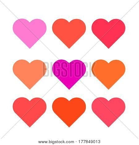 Set multi colored hearts of the correct form