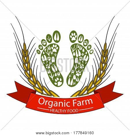Illustration icon organic farms and healthy food.