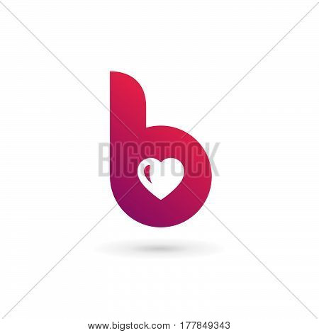 Letter B Heart Logo Icon Design Template Elements