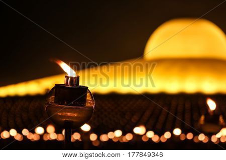Candle Light To Pay Respect To Lord Buddha On Makabucha Day At Dhammakaya Temple, Thailand