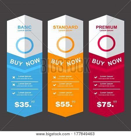 Internet traffic.Set offer tariffs. ui ux vector banner for web app. set pricing table order box button list with plan for website in flat design