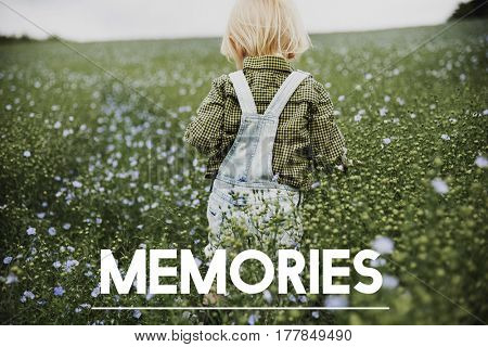 Memories word on young boy outdoors