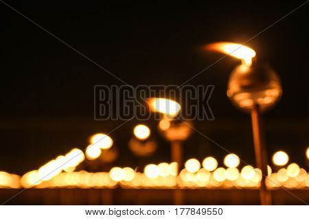 Blurred Candle To Pay Respect To Lord Buddha On Makabucha Day
