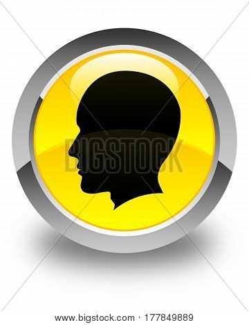 Head Male Face Icon Glossy Yellow Round Button