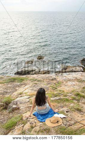 Girl Enjoying The Horizon View