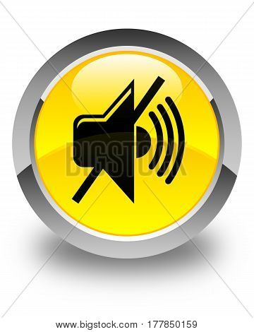 Mute Volume Icon Glossy Yellow Round Button