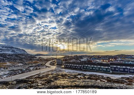 Arctic Streets With Houses On The Rocky Hills In Sunset City Panorama. Nuuk, Greenland