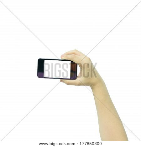 Woman hand holding the black smartphone with blank screen isolated on white background.