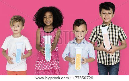 Little Children Holding Test Tubes Chemical