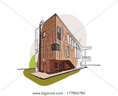 Colored architectural sketch vector. The building in Finland. Wooden house  in Helsinki. Finnish architecture. Can apply in tourist sphere, for the site of tourism, in flyer design, banner.