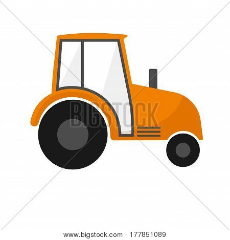 Orange agrimotor . Farm machines. Tractor for agriculture. On white