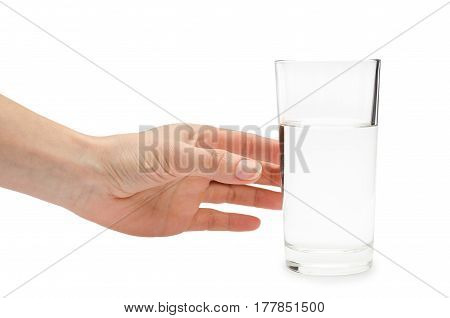 Hand Of Young Girl Holding Water Glass