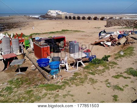 CASABLANCA MOROCCO - MARCH 07 2017: A huge mess on the beach.
